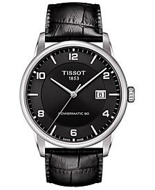 Men's Swiss Automatic Luxury Powermatic 80 Black Leather Strap Watch 41mm