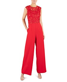 Lace-Top Wide-Leg Jumpsuit