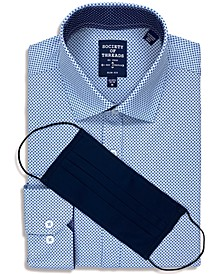 Men's Slim-Fit Non-Iron Performance Stretch Diamond-Print Dress Shirt with Pleated Face Mask