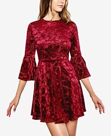 Juniors' Velvet Bell-Sleeve A-Line Dress