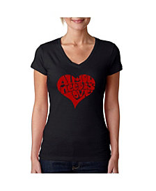 La Pop Art Women's V-Neck T-Shirt with All You Need Is Love Word Art