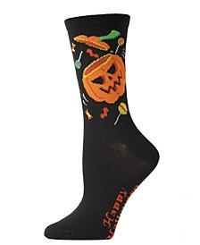 Women's Pumpkin and Candy Halloween Crew Sock