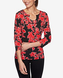 Ruby Road Women's Floral Printed Horseshoe Neckline Top, Regular & Petite