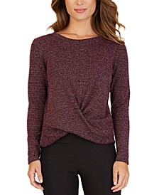 Juniors' Twist Front Sweater