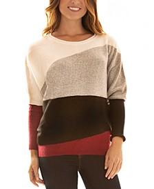 Juniors' Colorblocked Dolman-Sleeve Sweater