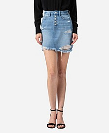 Women's Distressed Button Up Fray Hem Skirt