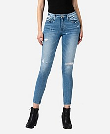 Women's Mid Rise Distressed Skinny Crop Jeans