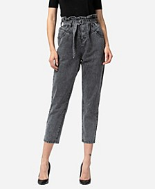 Women's Paperbag Self Tie Front Yoke Detail Mom Jeans