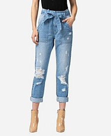 Women's Super High Rise Distressed Self Tie Utility Jeans