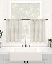 "Textured Slub Stripe Dust Resistant Sheer Cafe Curtain Pair, 52"" x 24"""