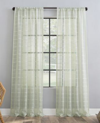 "Windowpane Plaid Dust Resistant Sheer Curtain Panel, 50"" x 96"""