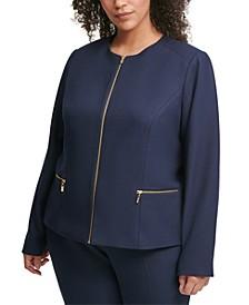 Plus Size Collarless Zip-Detail Jacket