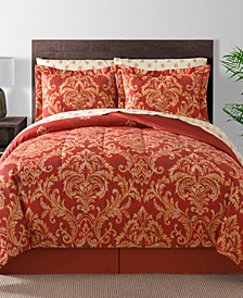 Golden Damask 8-Pc. Reversible Queen Comforter Set