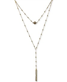 """INC Gold-Tone Double Strand Crystal Ball 16""""-18"""" Lariat Necklace, Created for Macy's"""