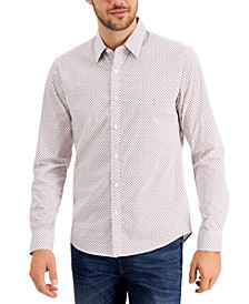 Men's Slim-Fit Stretch Tossed Logo-Print Shirt, Created for Macy's