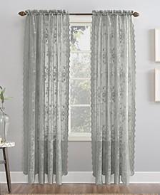"Alison Floral Lace Rod Pocket Curtain Panel, 58"" x 95"""