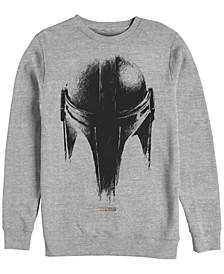 Men's Star Wars Mandalorian Sketch Helm Crew Fleece Pullover T-shirt