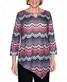 Alfred Dunner Women's Plus Size Madison Avenue Texture Chevron Top