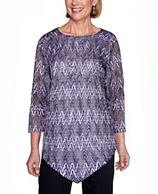 Women's Plus Size Wisteria Lane Zigzag Textured Top