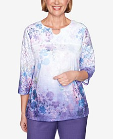 Women's Plus Size Wisteria Lane Floral Lace Top