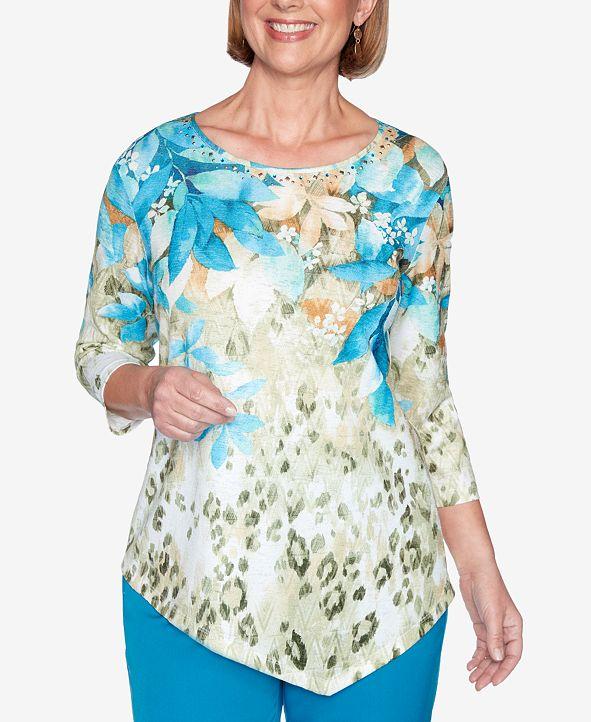 Alfred Dunner Women's Plus Size Colorado Springs Animal Print Floral Yoke Top