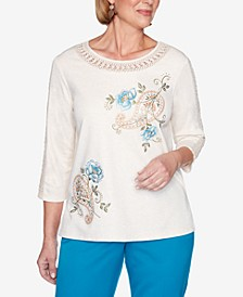 Women's Plus Size Madison Avenue Paisley Floral Embroidery Top
