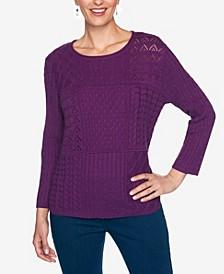 Women's Plus Size Classics Mixed Stitch Patchwork Sweater