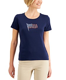 Petite Cotton Embellished Flag-Graphic Top, Created for Macy's