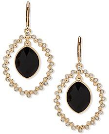 Gold-Tone Black Stone Orbital Earrings