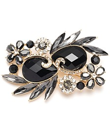 Gold-Tone Black Stone Cluster Boxed Pin