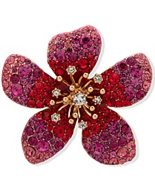 Gold-Tone Red Stone Flower Boxed Pin