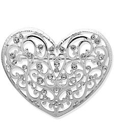 Silver-Tone Openwork Heart Boxed Pin