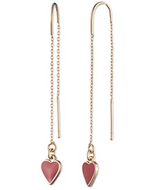 Gold-Tone Colored Heart Threader Earrings