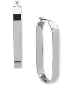 Silver-Tone Oval Flat Hoop Earrings