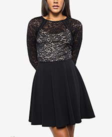 Juniors' Bow-Back Lace Skater Dress