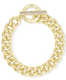 14k Gold-Plated Cubic Zirconia Large Link Chain Bracelet