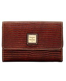Lizard-Embossed Leather Flap Wallet