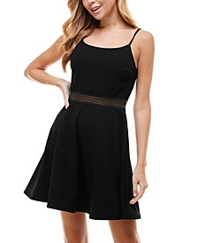 Juniors' Wavy-Trim Elastic-Waist Dress