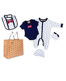 Baby Boys Bowtie Footie 5 Piece Layette Gift Set