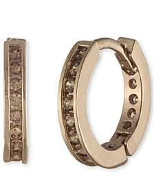 Pavé Small Huggie Hoop Earrings, .4""