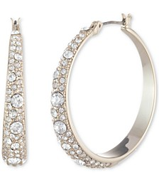 Scattered Crystal Medium Hoop Earrings, 1.3""
