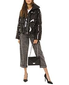 Sequin Funnel-Neck Puffer Jacket