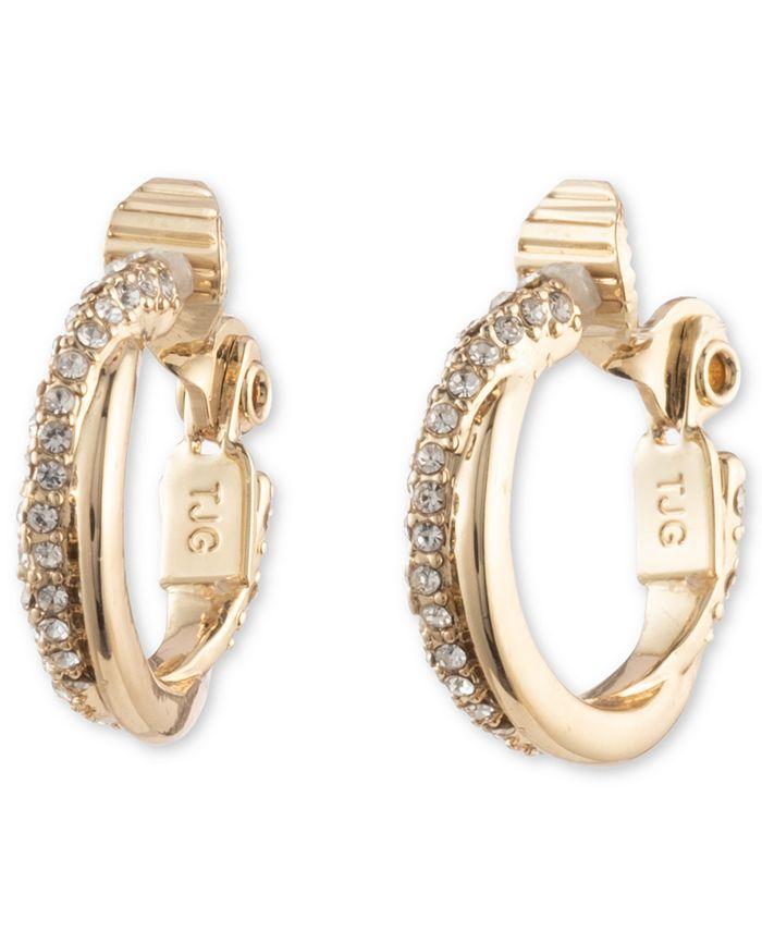 "Lauren Ralph Lauren - Gold-Tone Small Pavé Twist Clip-On Hoop Earrings, 0.8"""