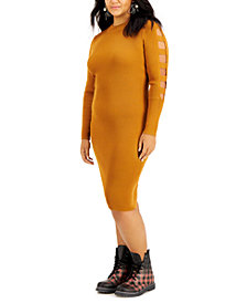 FULL CIRCLE TRENDS Trendy Plus Size Ladder-Sleeve Sweater Dress