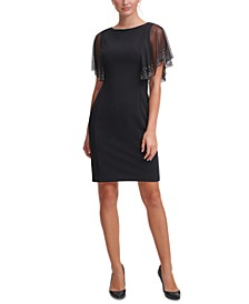 Embellished-Sleeve Scuba-Crepe Sheath Dress