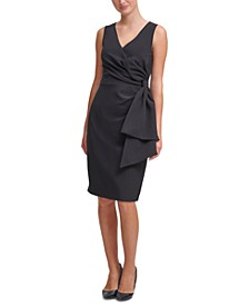 Bow-Detail Scuba-Crepe Sheath Dress