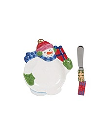 Holly Jolly Snowman Snack Plate
