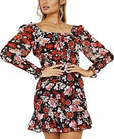 Floral-Print Flounce-Hem Dress