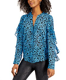 Heart-Print Ruffled-Sleeve Blouse, Created for Macy's