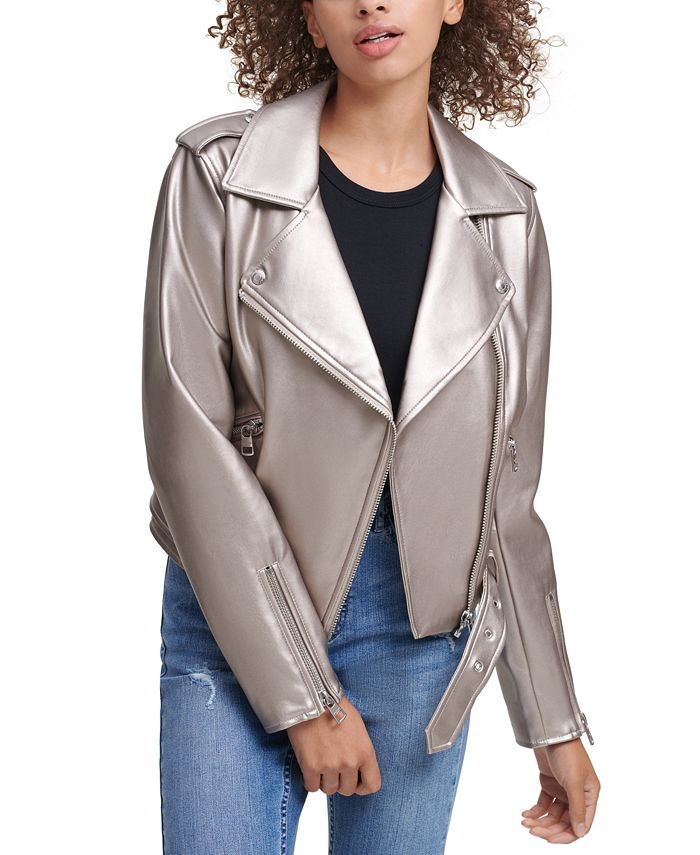 Calvin Klein Jeans - Belted Faux-Leather Moto Jacket